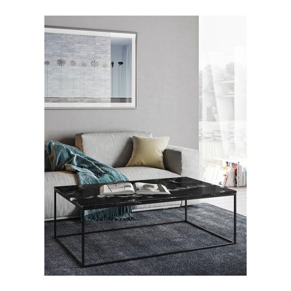 Czarny stolik marmurowy z czarnymi nogami TemaHome Gleam, 75x120 cm