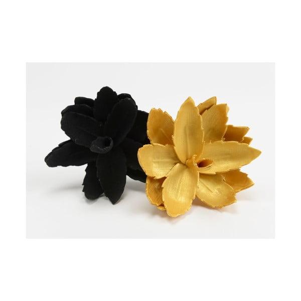 Zestaw 2 sztucznych kwiatów Mini Black/Gold