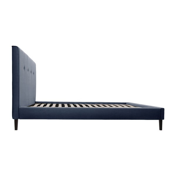 Granatowe łóżko z czarnymi nóżkami Vivonita Kent, 160x200 cm