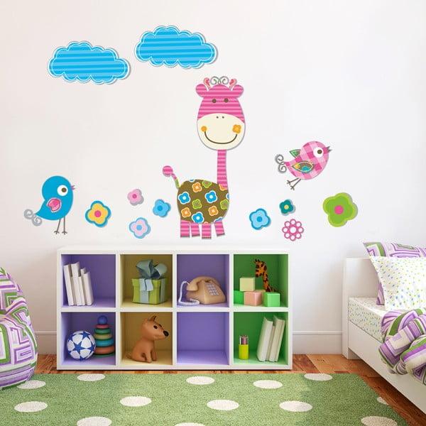 Naklejka na ścianę Różowa żyrafa, 50x70 cm