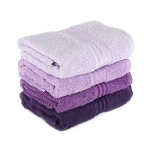 Zestaw 4 fioletowych bawełnianych ręczników Rainbow, 50x90 cm