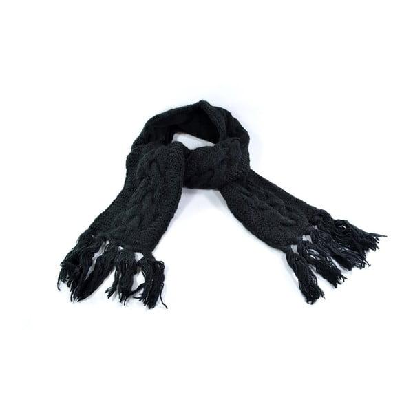 Wełniany szalik z polarową podszewką Spacedye Black
