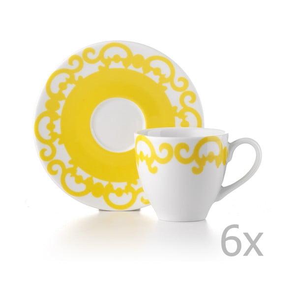 Zestaw 6 filiżanek z podstawką Arabesco Yellow