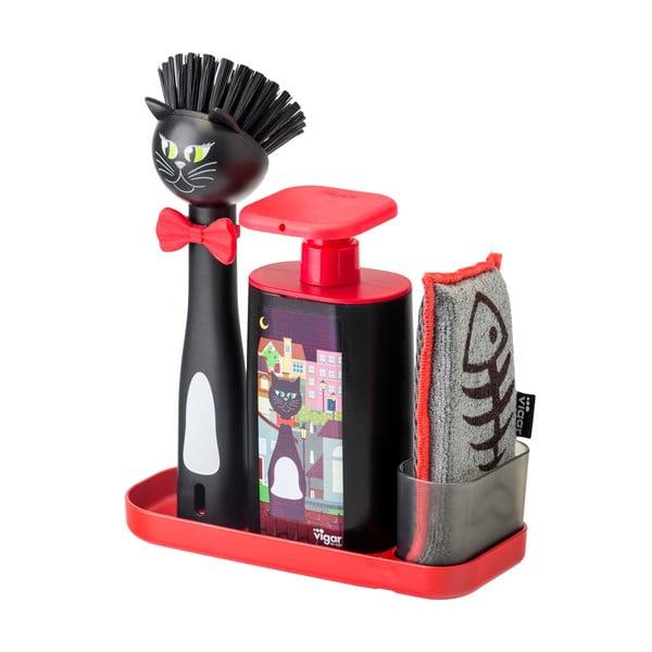 Czarny zestaw do mycia naczyń Vigar Felix ze szczotką, dozownikiem, gąbką