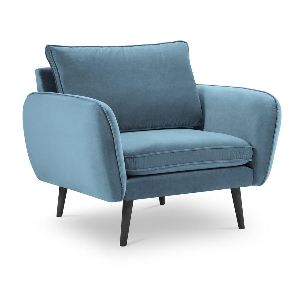Jasnoniebieski aksamitny fotel Kooko Home Lento