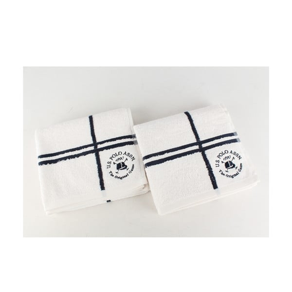 Komplet 2 ręczników Towel US Polo Hand White and Dark Blue, 50x90 cm