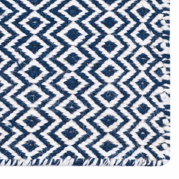 Ręcznie tkany kilim Blue Geometry Kilim, 110x153 cm