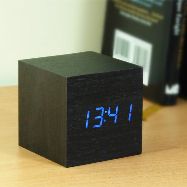 Czarny budzik z niebieskim wyświetlaczem LED Gingko Cube Click Clock