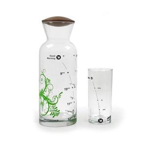 Zestaw karafka Floral green + szklanka