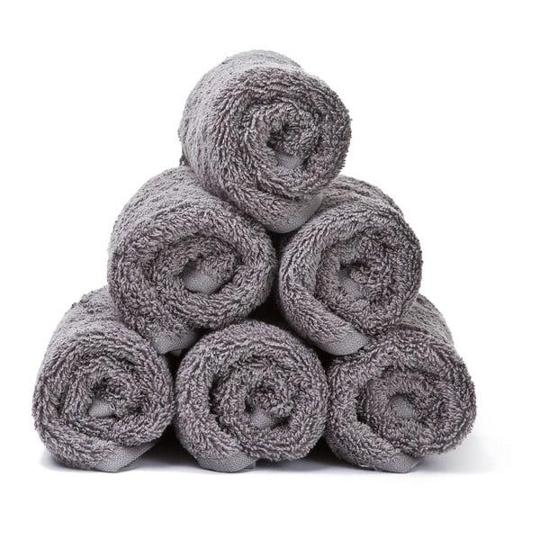 Komplet 6 szarych ręczników bawełnianych Casa Di Bassi Guest, 30x50 cm