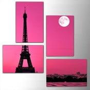 Czteroczęściowy obraz Pink Eiffel, 76x76 cm