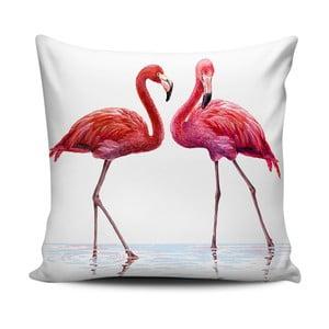 Różowo-biała poduszka Home de Bleu Talking Flamingos, 43x43cm