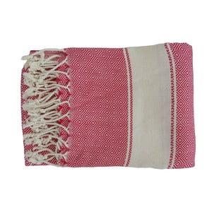 Czerwony ręcznie tkany ręcznik z bawełny premium Elmas,100x180 cm