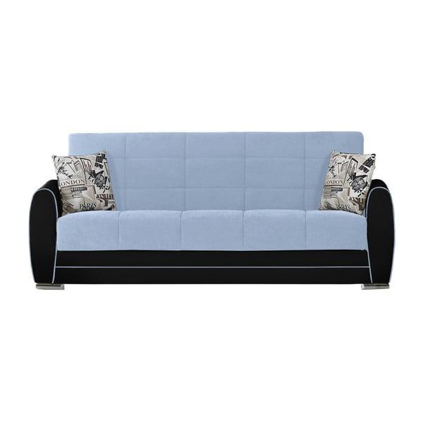 Niebiesko-czarna trzyosobowa sofa rozkładana ze schowkiem Esidra Rest