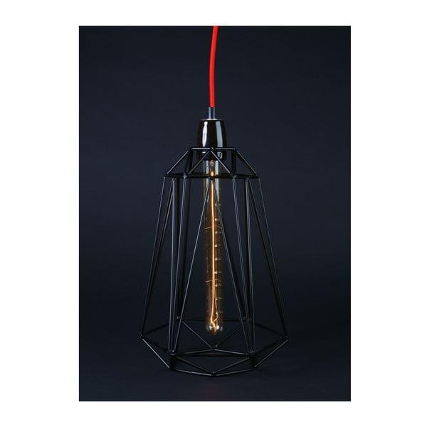 Czarna lampa wisząca z czerwonym kablem Filament Style Diamond #5