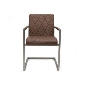 Ciemnobrązowe krzesło z podłokietnikami LABEL51 Oslo