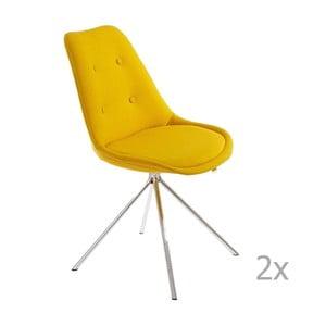 Zestaw 2 żółtych krzeseł 13Casa Lars