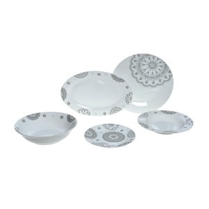 Zestaw porcelacowych naczyń Grey Decor, 25 ks
