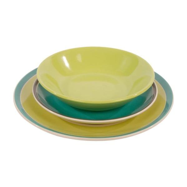Komplet 18 talerzy ceramicznych Night Soul Green