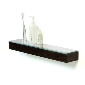 Półka ze szklanym blatem z drewna dębowego Wireworks Mezza Dark, 55 cm