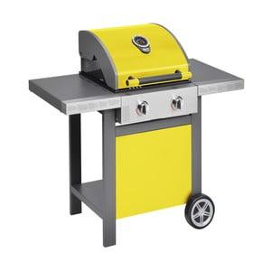 Żółty grill gazowy z 2 palnikami i termometrem Jamie Oliver BBQ
