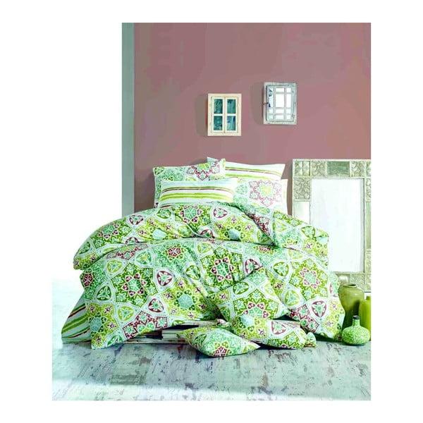 Dwuosobowa pościel bawełniana z prześcieradłem i 2 poszewkami na poduszkę Ornament Parejo, 200x220 cm
