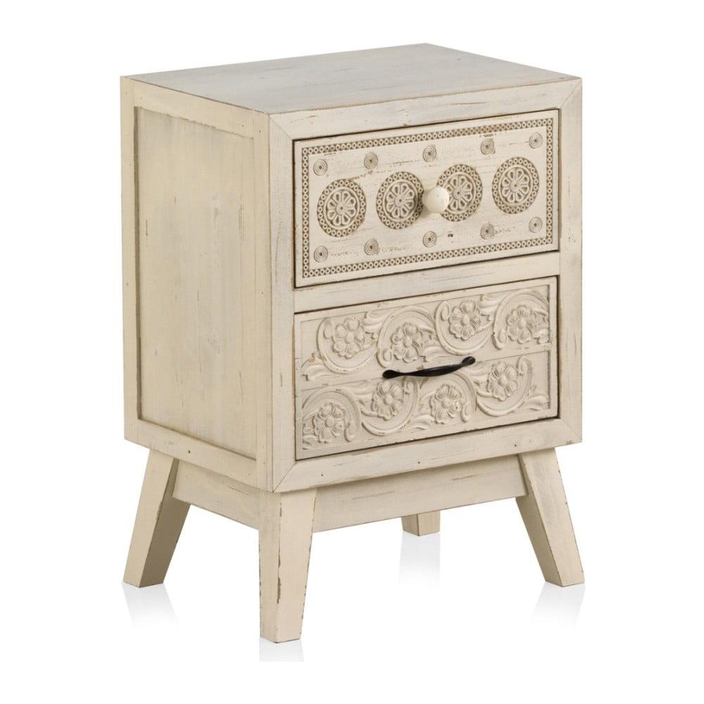 Drewniana szafka nocka z 2 szufladami Geese Lorelai