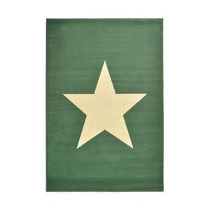 Dywan City & Mix - zielony z gwiazdą, 140x200 cm
