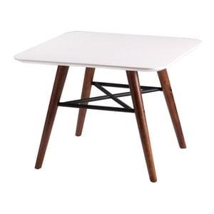 Biały stolik z nogami w dekorze ciemnego drewna sømcasa Andy