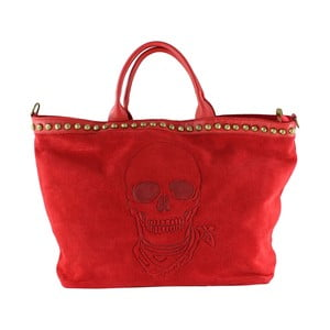 Skórzana torebka Skull, czerwona