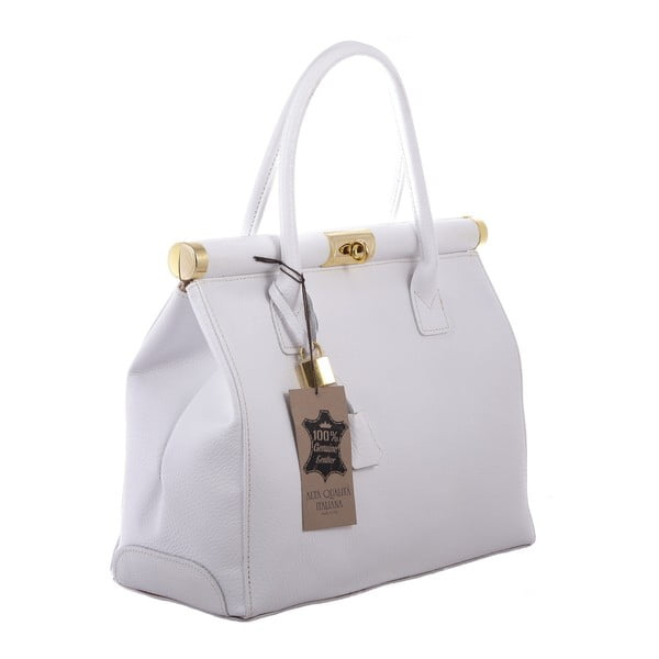 Biała skórzana torba Blair