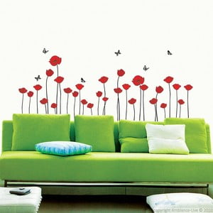 Zestaw naklejek Ambiance Red Poppy Flowers