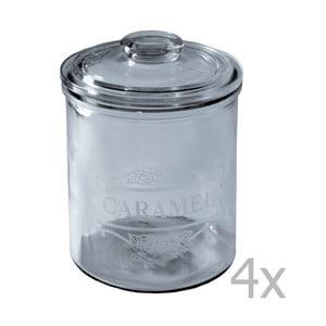 Komplet 4 szklanych pojemników Antic Line Lisa