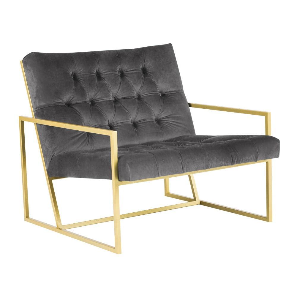 Szary fotel z konstrukcją w kolorze złota Mazzini Sofas Bono