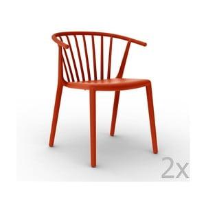 Zestaw 2 czerwonych krzeseł ogrodowych Resol Woody