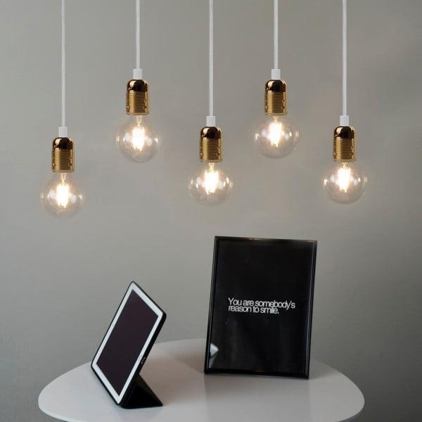 Biała pięcioramienna lampa wisząca ze złotą oprawką Bulb Attack Uno Cassie