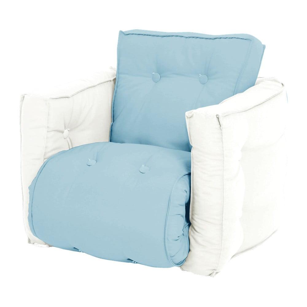 Dziecięcy jasnoniebieski fotel rozkładany Karup Design Mini Dice Blue/Natural