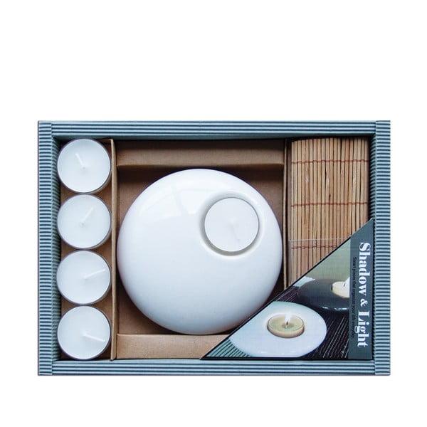 Ceramiczny stojak ze świeczkami Bamboo White