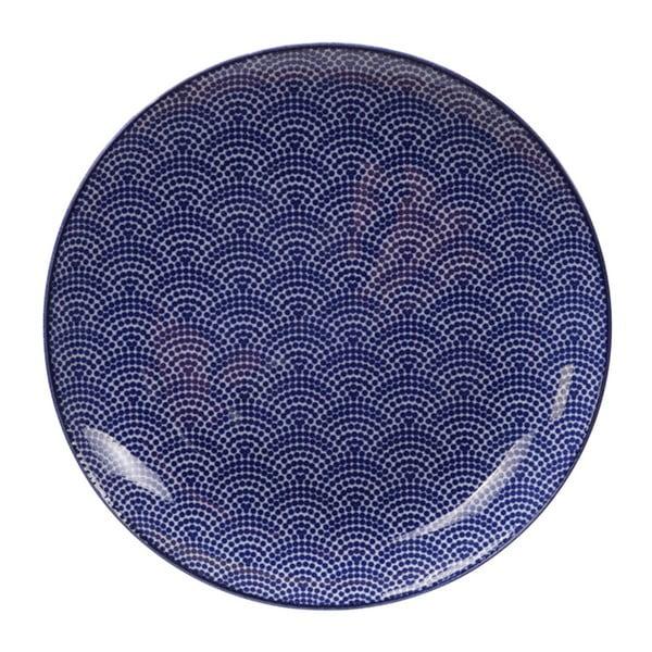 Niebieski talerz porcelanowy Tokyo Design Studio Dots, ø 25,7 cm