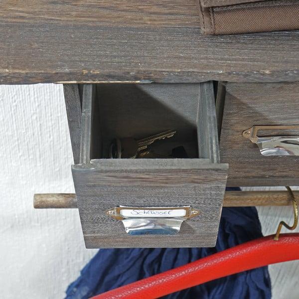 Brązowy wieszak ścienny z szufladkami Mendler Shabby