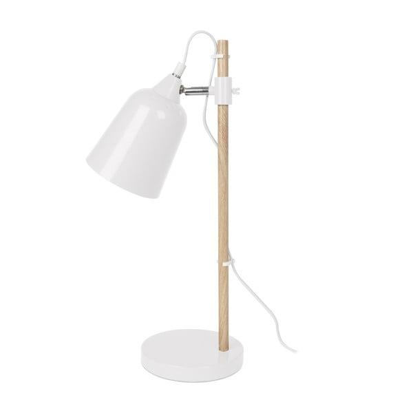 Biała lampa stołowa Leitmotiv Wood