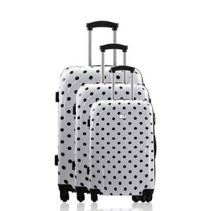 Komplet 3 walizek Integre White Black Dots, 114 l/75 l/46 l