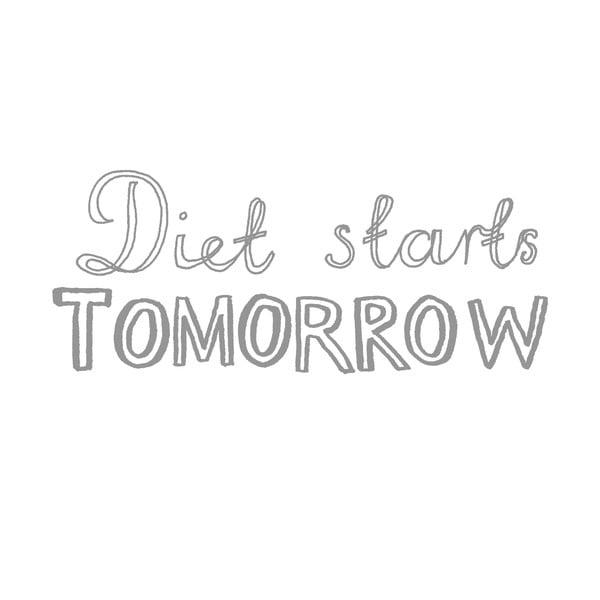 Poszewka na poduszkę Diet Starts Tomorrow, 50x70 cm