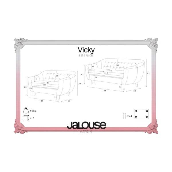 Brązowy zestaw 2 sof dwuosobowej i trzyosobowej Jalouse Maison Vicky