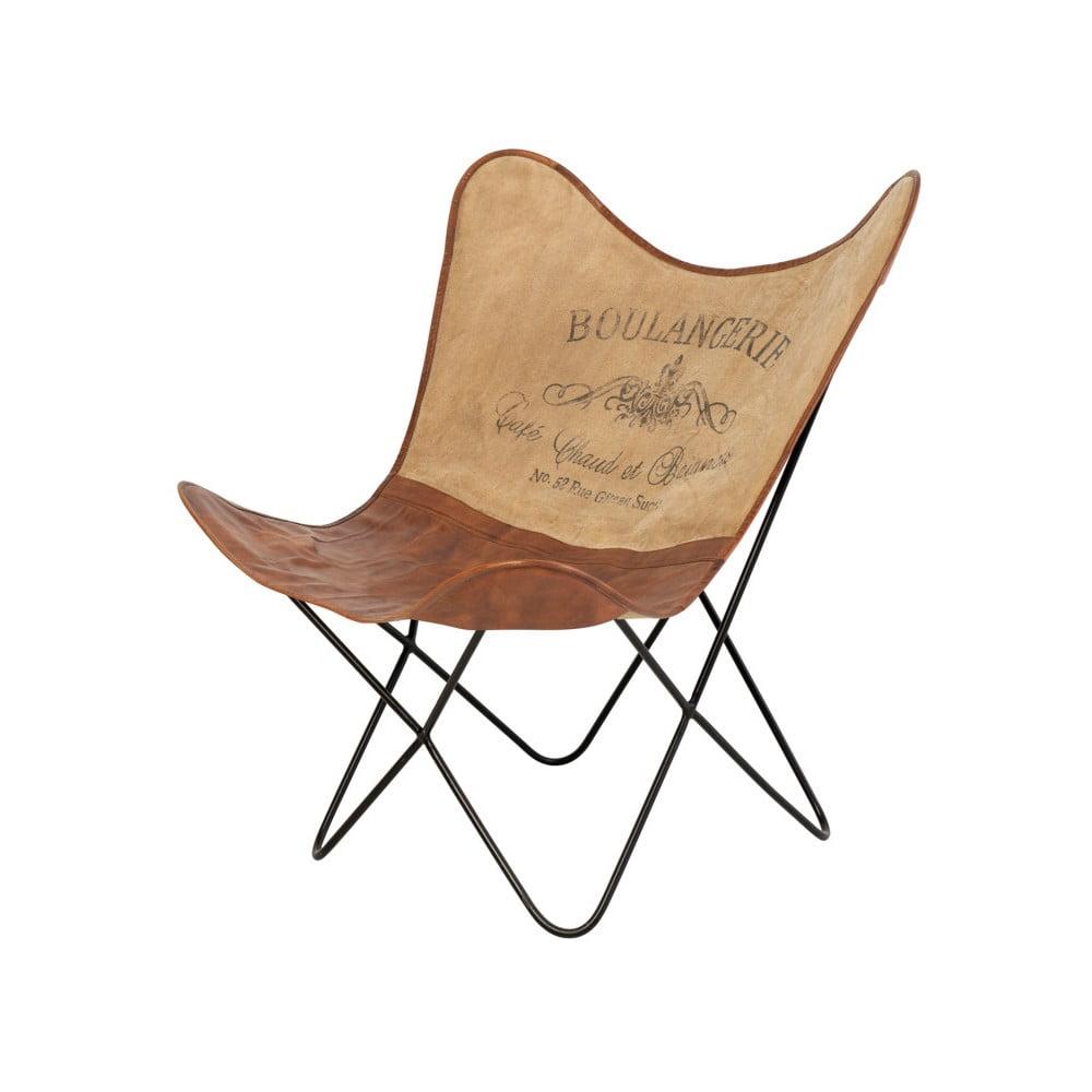 Brązowy skórzany fotel butterfly z napisem sømcasa Farfalla