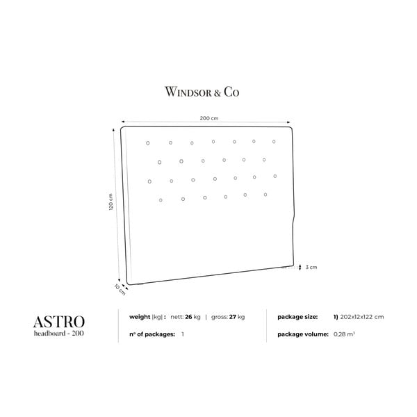 Czarny zagłówek łóżka Windsor & Co Sofas Astro, 200x120 cm