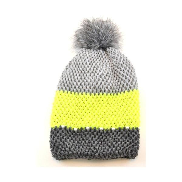 Czapka damska Pasy Yellow