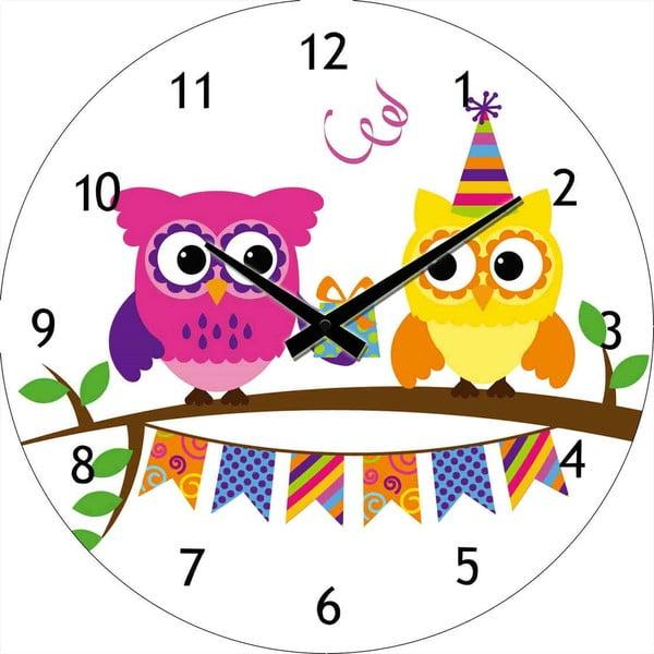 Szklany zegar Party sowy, 30 cm
