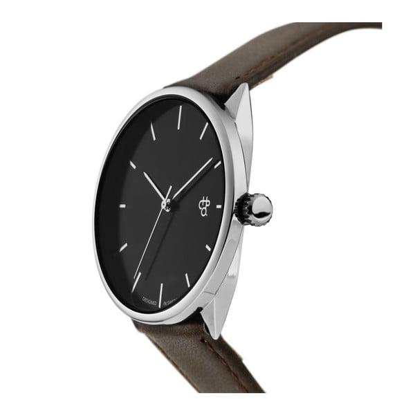 Zegarek z brązowym paskiem i niebieskim cyferblatem CHPO Khorshid