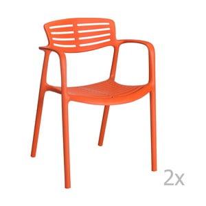 Zestaw 4 pomarańczowych krzeseł ogrodowych z podłokietnikami Resol Toledo Aire